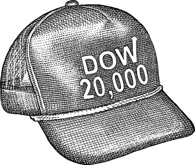 a hat with dow jones 20,000 on the front of it