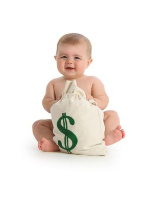 a baby sitting next to a bag of money and learning money values
