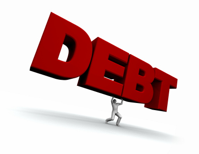 a man carries the word debt above his head as it puts tremendous pressure on him