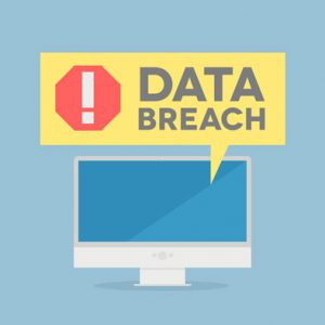 a computer screen flashing data breach