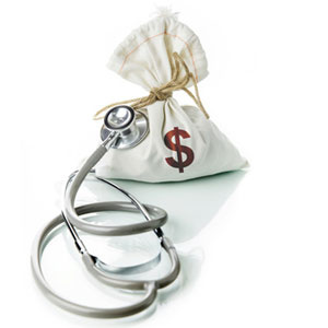 a bag of money with a medical stethoscope checking out its health during a financial check up